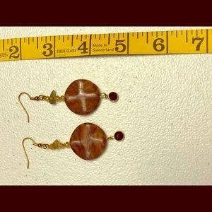 Earrings pierced :Gemstone with crystal bezel